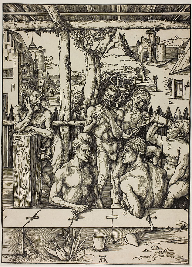 """Hard to figure out who the buyer would be for Albrecht Dürer's Nuremburg Bath House, 1496. The bloggers here tell us: """"It is believed that the figure in the center playing the flute is Dürer himself because he is bearded, with only a risqué codpiece covering his genitals. The two men in the foreground are believed to be the very sexually permissive, patrician (the ruling families of Nuremberg) Paümgartner brothers, Stephen and Lucas, who Dürer depicted in the Paümgartner Altar."""" Please note location of spigot near man's junk on upper left. We had to be subtle then."""